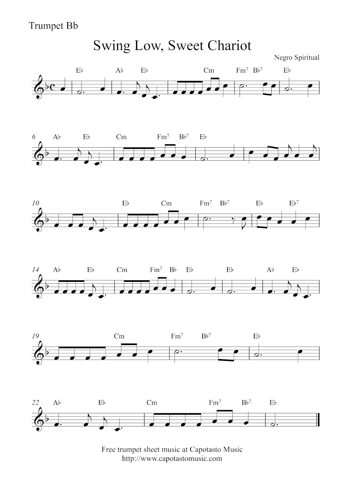 Free Trumpet Sheet Music Swing Low Sweet Chariot