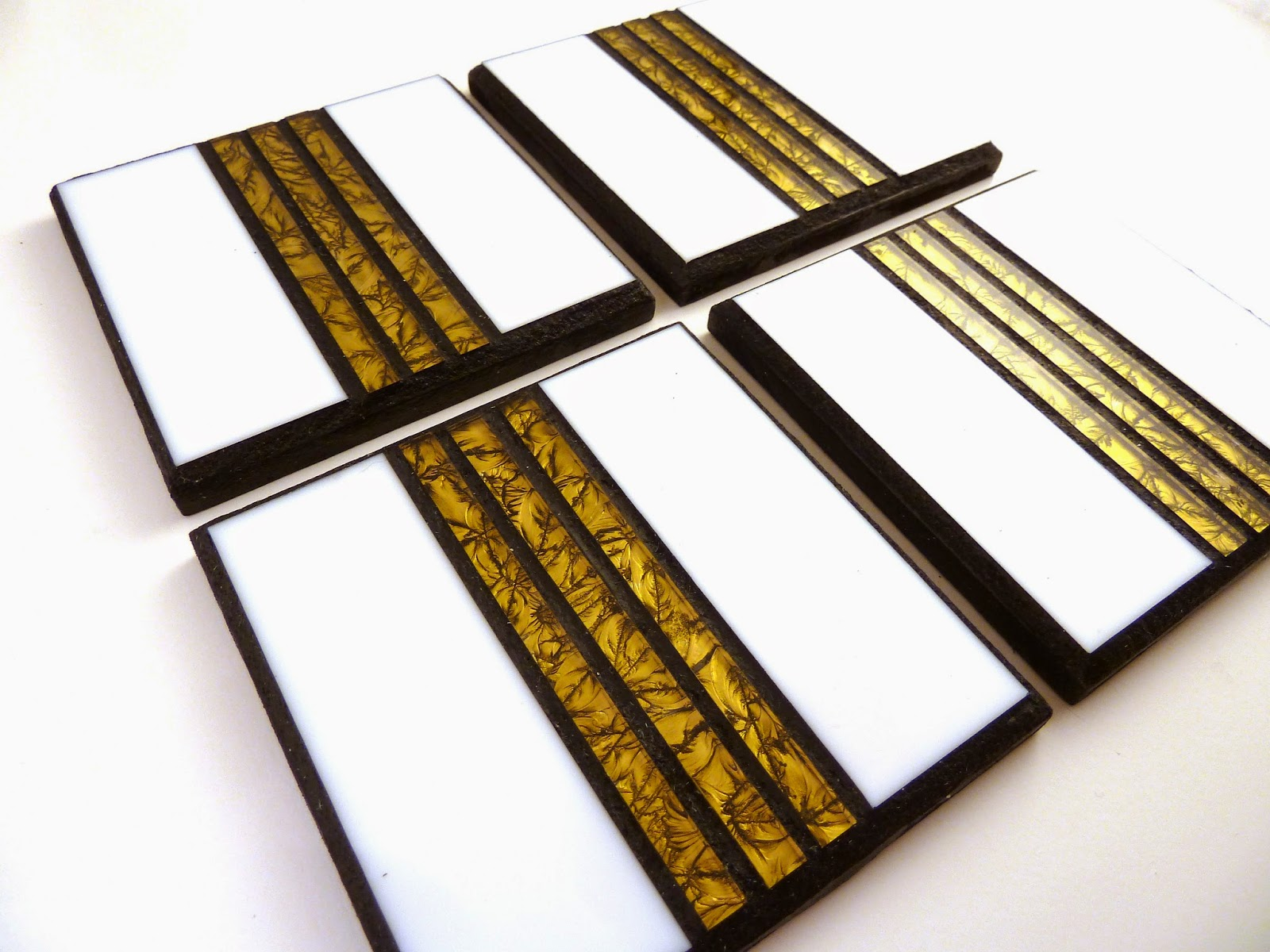 White And Gold Coasters Shards Of Glass Mosaics Gold And White Coaster Set
