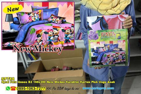 Sprei Fata Queen B2 160x200 New Mickey Karakter Kartun Pink Ungu Anak