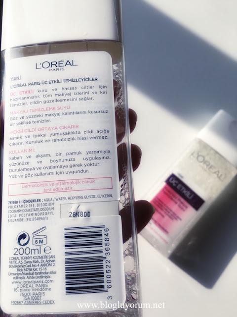loreal yeni üç etkili kusursuz makyaj temizleme suyu içerik