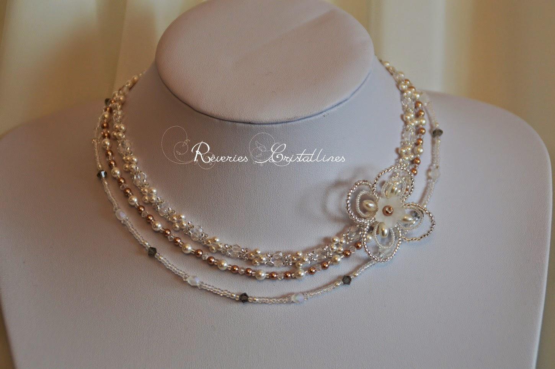 collier mariage en perles et cristaux