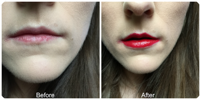 before and after loreal lip paint lacquer in red fiction