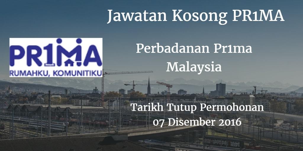 Jawatan Kosong PR1MA 07 Disember 2016
