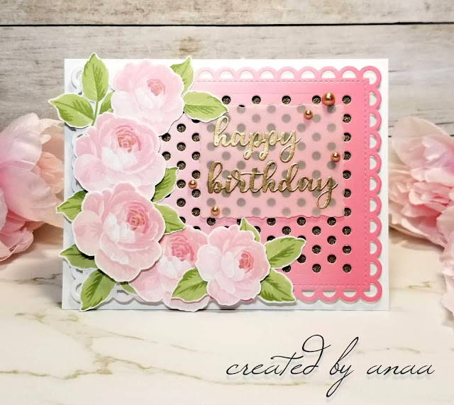 Sunny Studio Stamps: Everything's Rosy Frilly Frames Polka-Dot Birthday Customer Card by Ana A