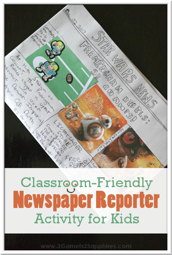 Classroom-friendly Newspaper Reporter Activity Kits for kids - make fun non-candy goodie bags  |  www.3Garnets2Sapphires.com