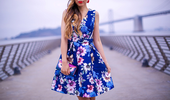chicwish floral dress, floral dress, karen walker sunglasses, fendi monster wallet, christian louboutin so kate pumps, baublebar FLAMENCO DROPS, baublebar earrings, san francisco street style, san francisco piers, san francisco fashion blog, new york fashion week, spring summer 2017