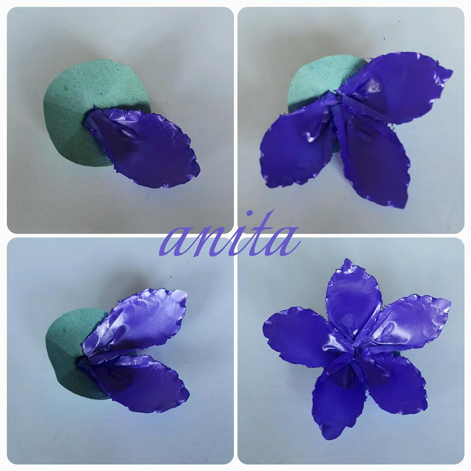 Purple Flowers Using Polypropylene Ribbon Crazzy Craft