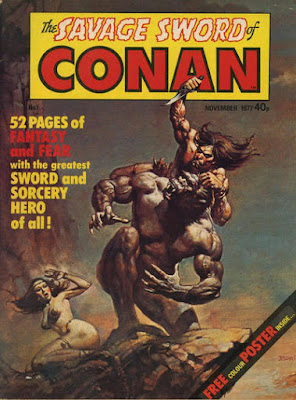 Marvel UK, Savage Sword of Conan #1, Boris Vallejo, Conan sits astride a giant man-ape as he prepares to stab it with his dagger