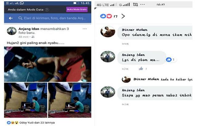 Keterlaluan, Warga Ini Memposting di FB saat Nyabu dan Tawarkan Narkoba