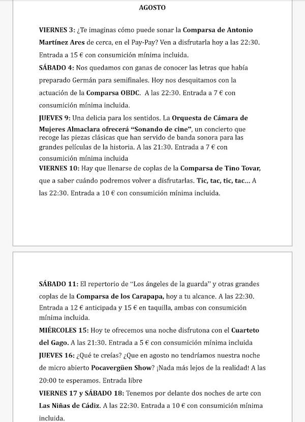 Programación completa del ciclo 'Carnaval Acústico' en El PayPay en agosto y septiembre