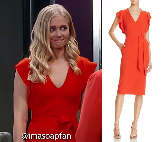 Serena Baldwin, Carly Schroeder, Red Dress with Flutter Sleeves, General Hospital, GH