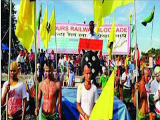 Bodo activists block tracks during their protest in Assam