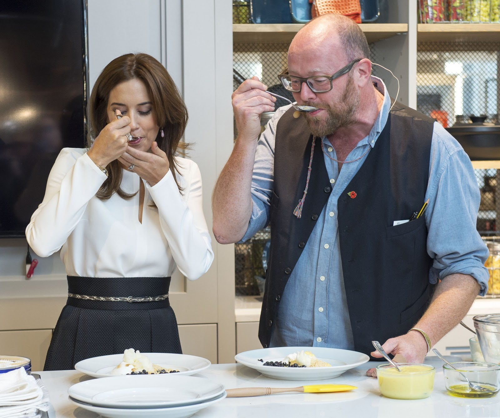 Crown Princess Mary worked closely together with the cheerful British-born chef — now living and working in Denmark — who guided her through the creation of the dessert.