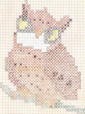 owl design plotted on graph paper