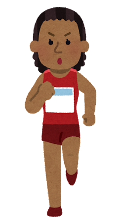 マラソン選手のイラスト(黒人女性)