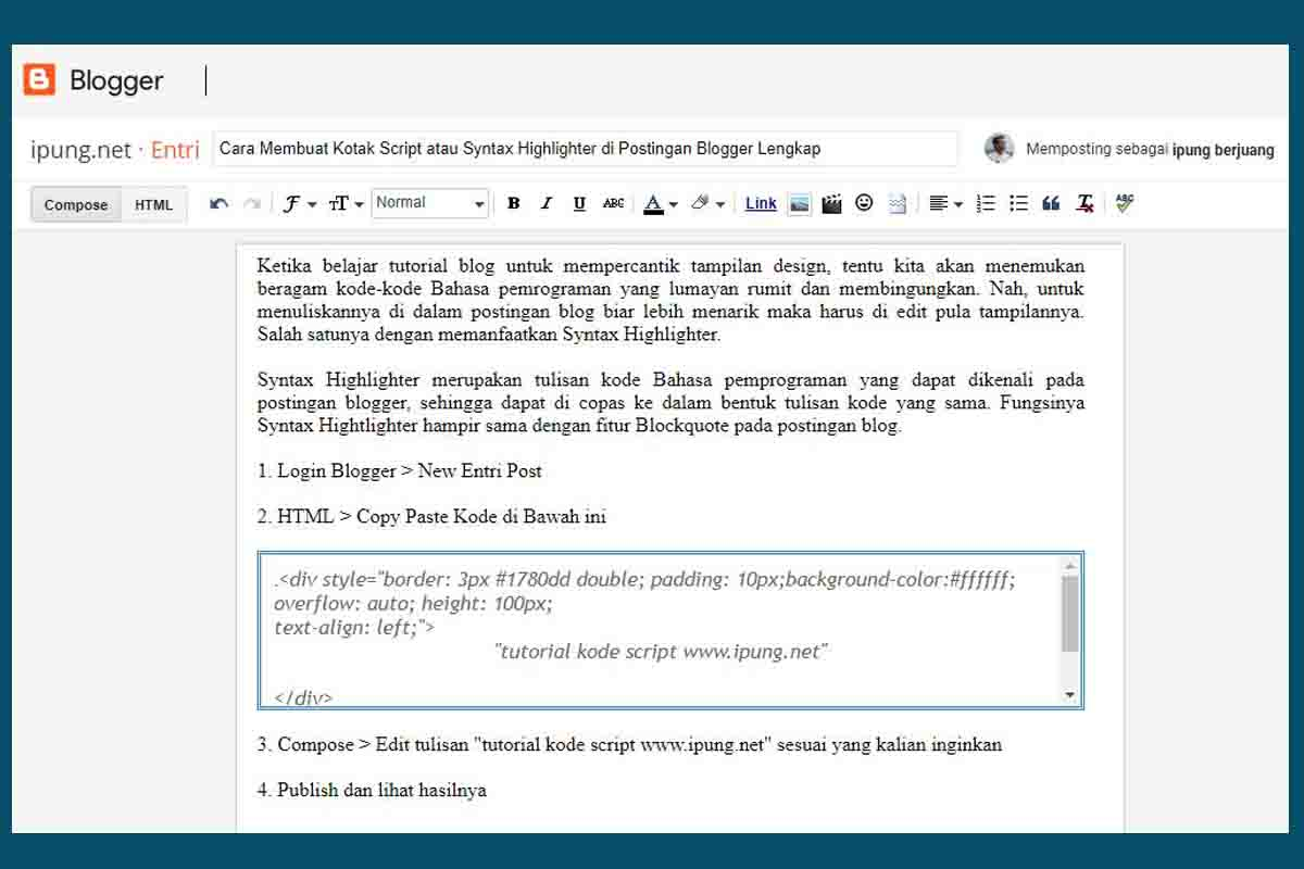 Cara Membuat Kotak Script atau Syntax Highlighter di Postingan Blogger Lengkap