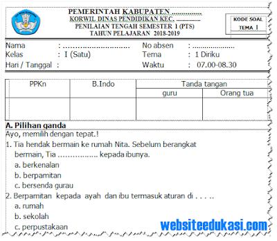 Soal PTS/ UTS Kelas 1 Semester 1 K13 Tahun 2018/2019