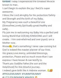Tonto Dikeh Welcomes A Baby