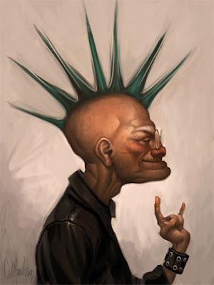 caricatura de viejito punk