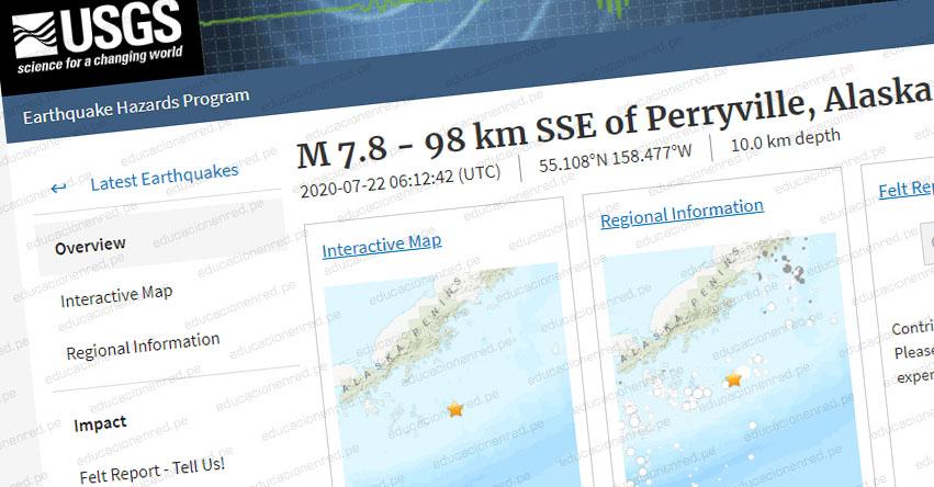 Terremoto en Alaska de Magnitud 7.8 y Alerta de Tsunami (Hoy Miércoles 22 Julio 2020) Sismo - Temblor - EPICENTRO - Perryville - Estados Unidos - EE.UU. - USGS