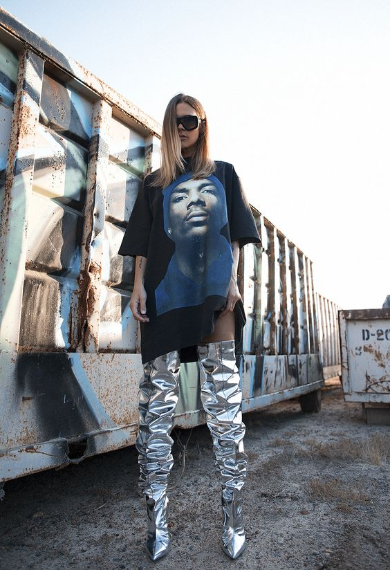 Native Fox - Vetements Snoop Dogg T-shirt + Balenciaga Silver Thigh High Boots