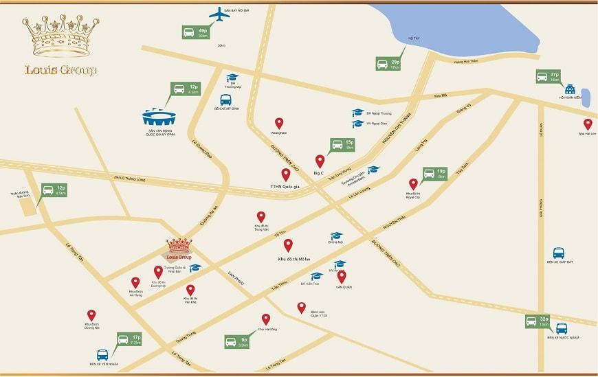 vị trí khu đô thị mới Louis City Đại Mỗ