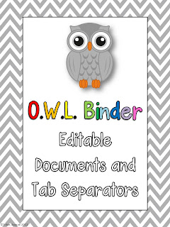 O.W.L. Binders for classroom organization- student responsibility take home binders for parent communication- OWL binders
