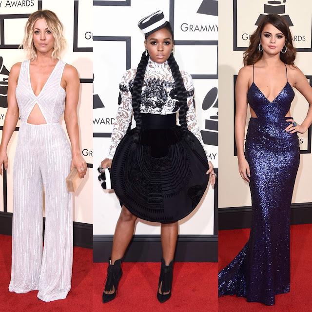 red carpet, style, red carpet beauty, red carpet fashion, Kaley Cuoco, Janelle Monae, Selena Gomez, jumpsuit, graphic dress, sequin, Grammy's, The Grammy Awards, 2016, beauty, Zendaya, Cover Girl, little black dress, LBD, black dress