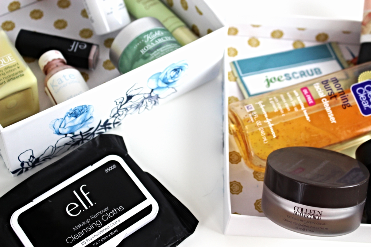 This is a close up of all my favorite skin care products, including e.l.f.'s cleansing clothes, Kate Somerville Eradikate, Cliniques Dramatically Different Moisturizer and more.