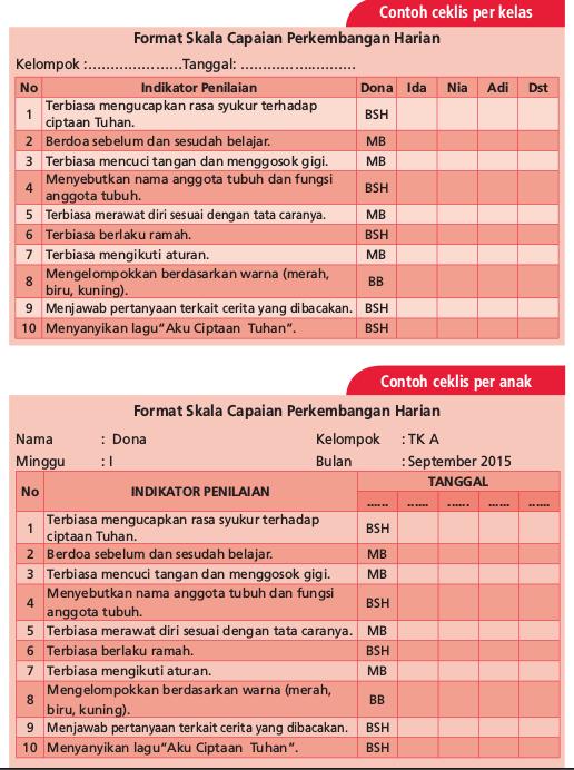 Contoh Format Checklist Skala Capaian Perkembangan PAUD