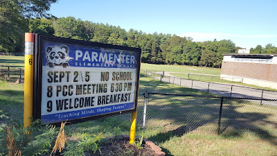 Parmenter sign acknowledges no school on Monday Sep 5 for Labor Day