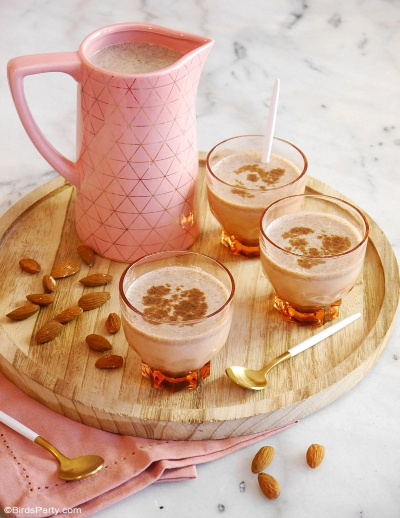 Quick & Easy Mexican Almond Horchata - a delicious, quick and easy to make drink, that's perfect for fall entertaining and Mexican parties! by BIrdsParty.com @birdsparty #horchata #cocktailrecipe #recipe #drinksrecipe #mexicanhorchata #almondsrecipe #almonds #horchatarecipe #mexicandrink #mexicanrecipe