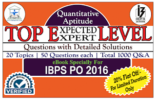 IBPS PO 2016 – TOP 1000 Expected/Expert Level Quantitative Aptitude Questions with Detailed Solution (Covered 20 Topics) eBook – Download in PDF