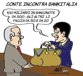 Giuseppe Conte, bankitalia, economia, miliardi, sovranità, vignetta, satira