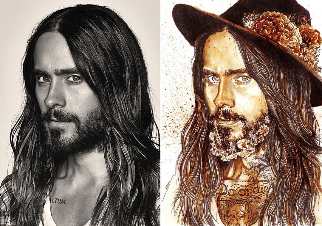 02-Jared-Leto-Nuria-Salcedo-nuriamarq-Celebrities-and-Animated-Movies-Painted-with-Coffee-and-Brown-Pencil-www-designstack-co