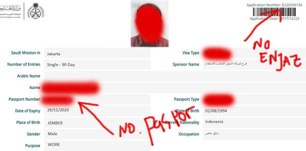 contoh nomor enjaz dan nomor paspor didalam dokumen enjazid untuk visa saudi