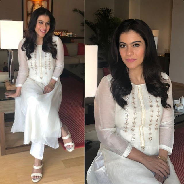 Kajol in a White Suit by Anita Dongre