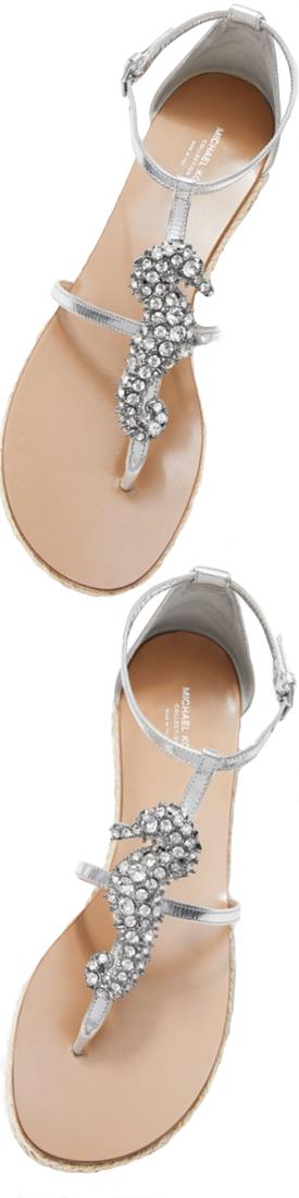Michael Kors Collection Annabeth Seahorse-Embellished Metallic Leather Sandal