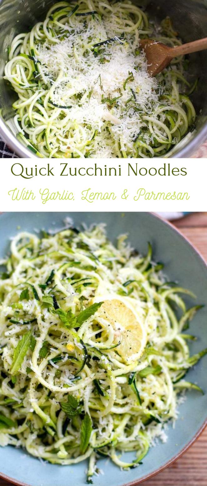 Zucchini Noodles With Garlic, Lemon & Parmesan #parmesan #noodles #healthyrecipe