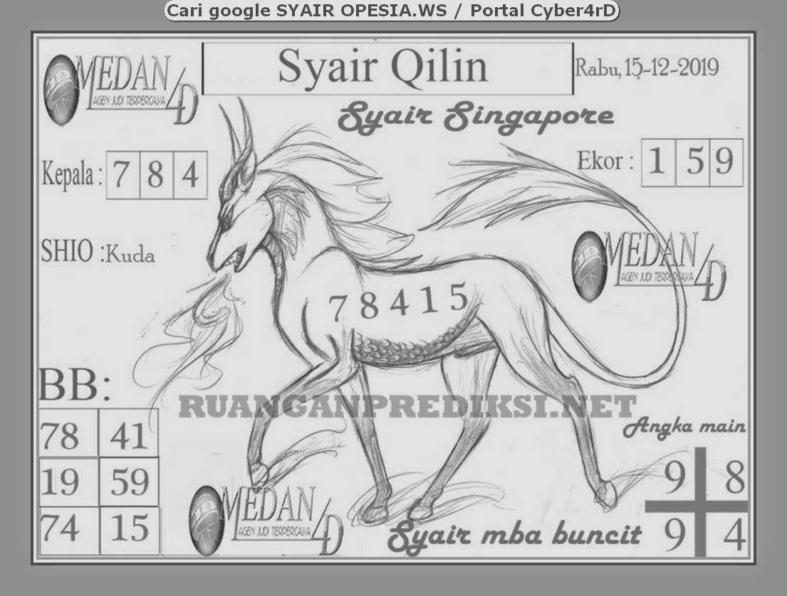 Kode syair Singapore Rabu 15 Januari 2020 137