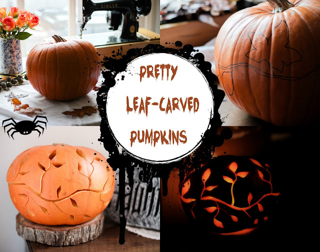 pretty pumpkins with leaf design