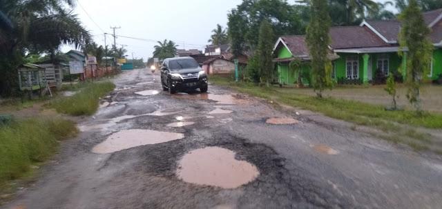 Jalan Lintas Provinsi Banyak Dihiasi  Lobang