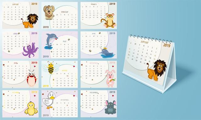 Bonito calendario de animales para el año 2019 en vector