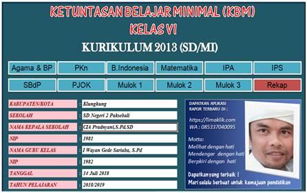 Aplikasi KKM K13 SD Revisi 2018