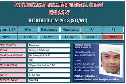 Aplikasi KKM Kurikulum 2013 SD Revisi Kelas 1 s/d 6