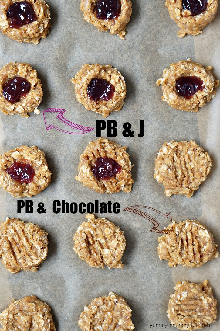 These breakfast cookies can be made two ways! Peanut butter oatmeal breakfast cookies with jam or with a chocolate drizzle.