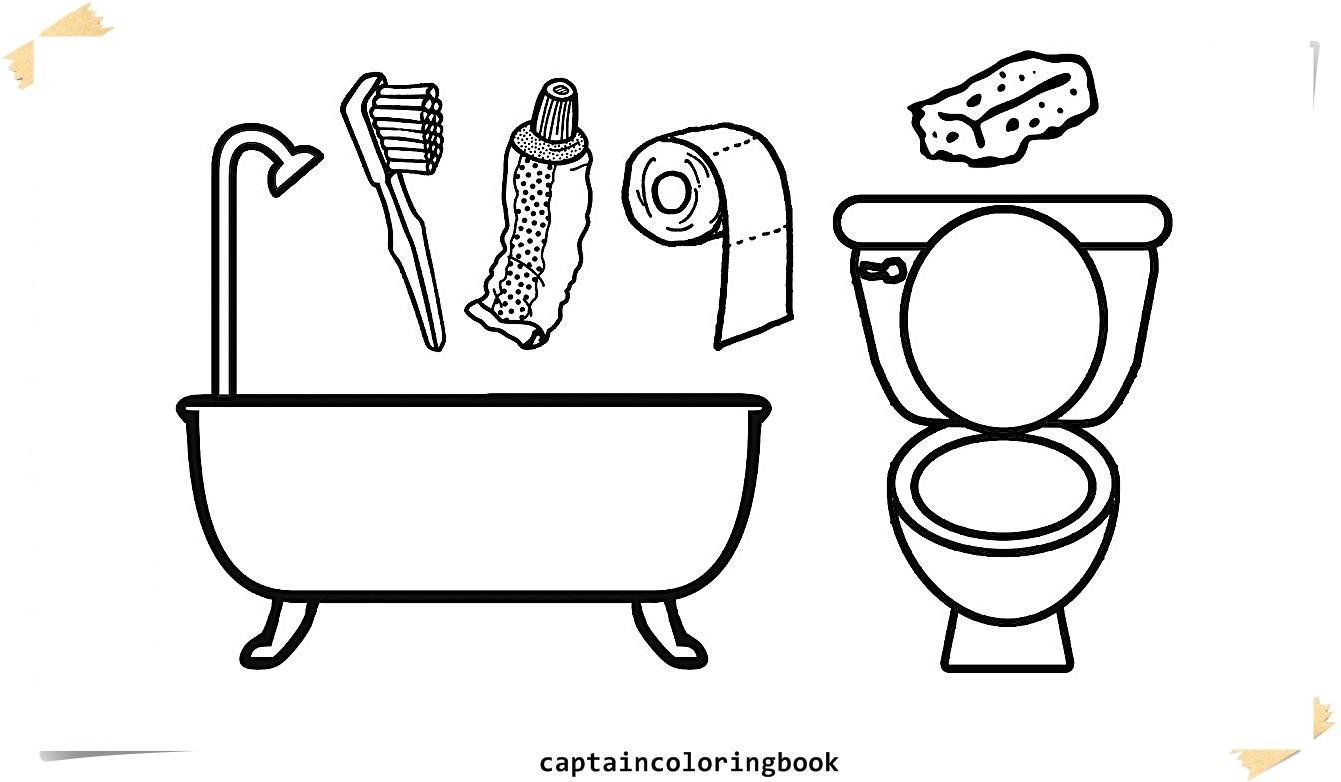 coloring pages bathrooms l bath tub l toilet drawing pages