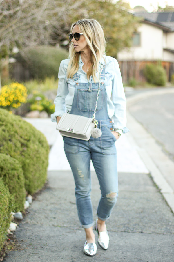 overall style chambray top