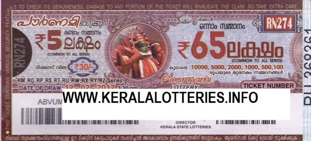 Full Result of Kerala lottery Pournami_RN-185