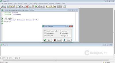 Mencetak program - Pengertian dan Dasar-Dasar Penggunaan Borland C++ - belajar c++